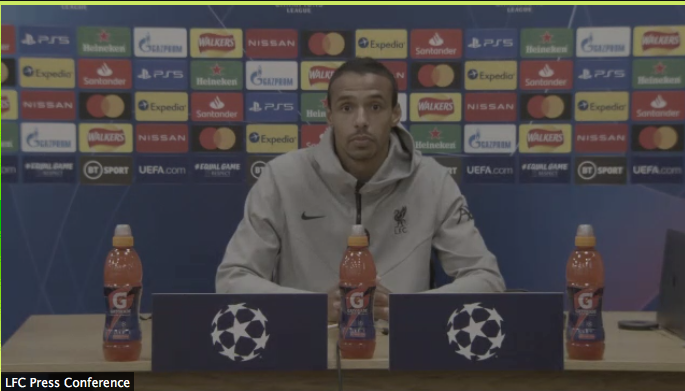 Joel Matip during today's press conference